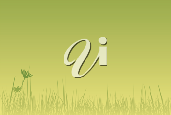 Royalty Free Clipart Image of a Green Background of Flowers and Grass