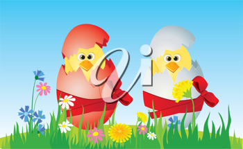 Royalty Free Clipart Image of Chick in Easter Eggs on the Lawn