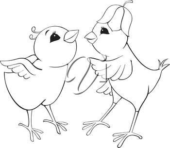 Outline chickens