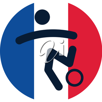 Football icon on French flag background