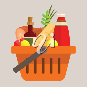 basket with foods
