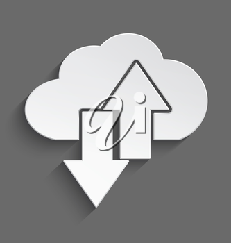 Vector illustration of white 3d cloud with up and down arrows with realistic shadow.