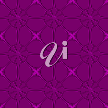 Abstract seamless background. Purple flourish embossed tile ornament.