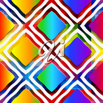 Abstract 3d geometrical seamless background. Rainbow colored rectangles and rim on rainbow background with cut out of paper effect.