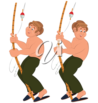 Illustration of two cartoon male characters isolated on white. Happy cartoon man standing in green pants topless with fishing rod.