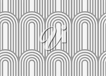 Stylish 3d pattern. Background with paper like perforated effect. Geometric design.Perforated paper with arks on continues stripes.