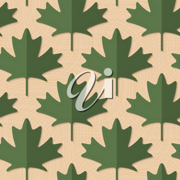 Retro fold deep green maple leaves.Retro fold green maple leaves .Abstract geometrical ornament. Pattern with effect of folded paper with realistic shadow. Vintage colored simple shapes on textured ba