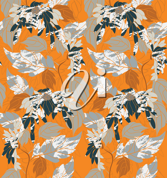 Aster flowers on vine on orange.Hand drawn floral seamless background.Botanical repainting design for fabric or textile.Seamless pattern with flowers.Vintage retro colors