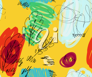 Rough sketched trees with bird on bright yellow.Hand drawn with ink and marker brush seamless background.Ethnic design.