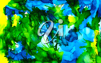 Abstract blue bright green ripples.Colorful background hand drawn with bright inks and watercolor paints. Color splashes and splatters create uneven artistic modern design.