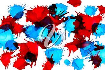 Paint spots red blue uneven on white.Colorful background hand drawn with bright inks and watercolor paints. Color splashes and splatters create uneven artistic modern design.