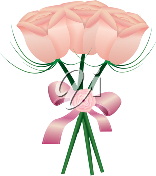 Royalty Free Clipart Image of a Bouquet of Rosebuds