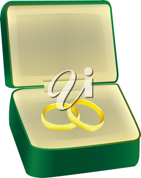 Royalty Free Clipart Image of Wedding Bands in a Jewellery Case