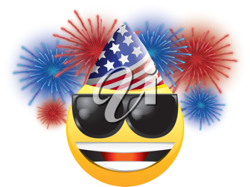 Royalty Free Clipart Image of a Happy Face in an American Hat and Sunglasses in Front of Fireworks