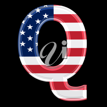 Royalty Free Clipart Image of an American Flag 'Q'