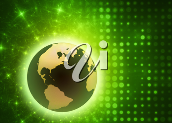 Royalty Free Clipart Image of a Glowing Earth