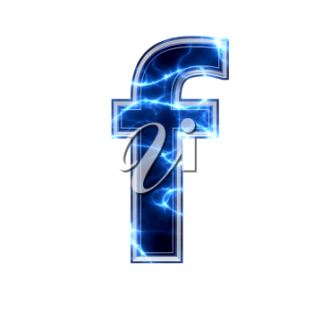 3d electric letter isolated on a white background - f