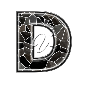 Abstract 3d letter with stone wall texture - D