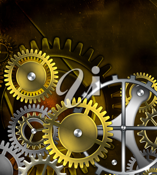 steampunk old gear mechanism on the background of old vintage parchment