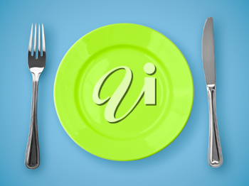 Royalty Free Photo of a Plate and Utensils
