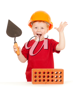 Royalty Free Photo of a Little Boy With a Trowel