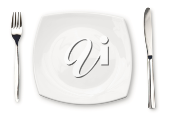 Royalty Free Photo of a Plate With Utensils