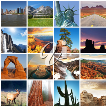 Royalty Free Photo of a Collage of American Monuments
