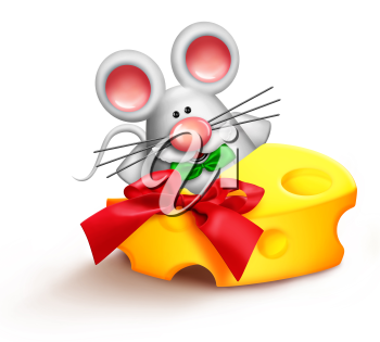 Royalty Free Clipart Image of a Mouse Eating Cheese