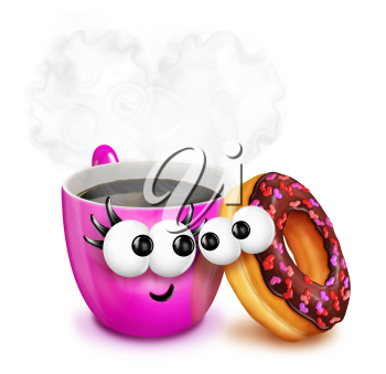 Royalty Free Clipart Image of Coffee and a Doughnut