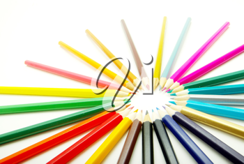Royalty Free Photo of an Assortment of Pencil Crayons