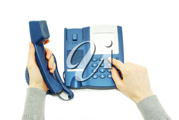 Royalty Free Photo of a Person Using a Telephone