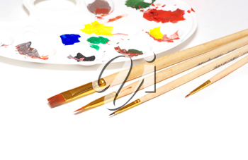 Royalty Free Photo of Paintbrushes and Paint