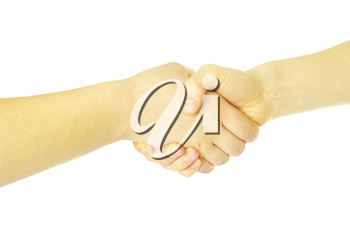 closeup of two men shaking hands isolated over white