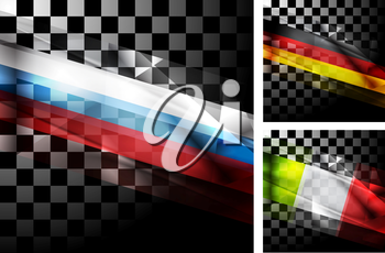 Concept design of flags. Russia, Germany and Italy. Vector illustration eps 10
