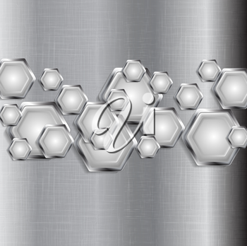 Abstract tech grey background with metal hexagons. Vector graphic design