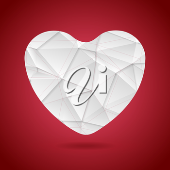 White polygonal tech heart on red background. Vector graphic design