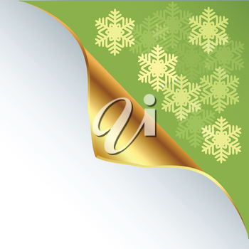 Royalty Free Clipart Image of a Snowflake Background With a Curled Gold Corner