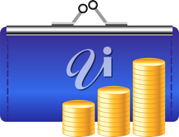 Royalty Free Clipart Image of Coins and a Purse