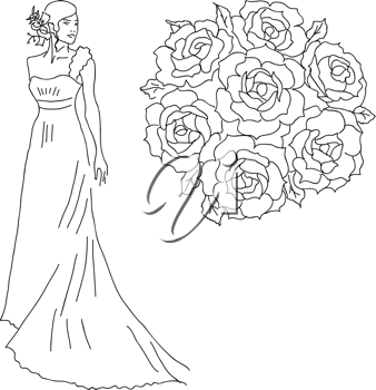 Royalty Free Clipart Image of a Bride With a Bouquet