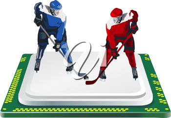 Royalty Free Clipart Image of Hockey Players on a Computer Processor
