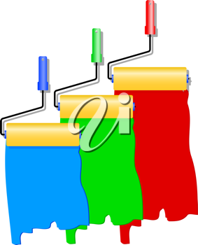 Royalty Free Clipart Image of Paint Rollers
