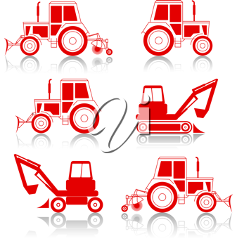 Royalty Free Clipart Image of Tractors