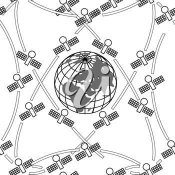 Royalty Free Clipart Image of Satellites Orbiting Earth