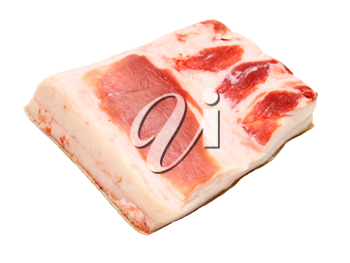 The big piece of fresh fat with a meat layer on a white background
