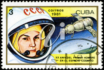 CUBA - CIRCA 1981: a stamp printed in the Cuba shows Valentina Tereshkova, 1st Woman in Space and Vostok 6, 20th Anniversary of 1st Man in Space, circa 1981