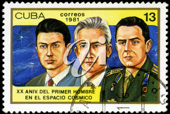 CUBA - CIRCA 1981: a stamp printed in the Cuba shows Konstantin Feoktistov, Boris Yegorov and Vladimir Komarev, Voskhod 1 Crew, 20th Anniversary of 1st Man in Space, circa 1981
