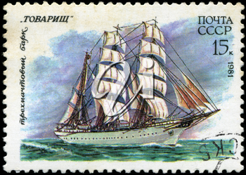 USSR- CIRCA 1981: a stamp printed by USSR, shows  russian sailing three masted barque  Tovarisch, series, circa 1981.