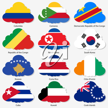 Set  Flags of world sovereign states in  form  clouds. Vector illustration. Set number 8. Exact colors. Easy changes.