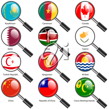 Set  Flags of world sovereign states Magnifying glass. Vector illustration. Set number 7. Exact colors. Easy changes.