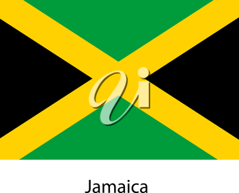 Flag  of the country  jamaica. Vector illustration.  Exact colors.